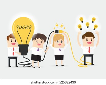 businessman and businesswoman connecting brain coworker with powerful ideas interactions concept best teamwork