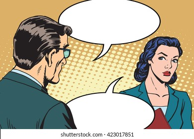 Businessman and businesswoman dialogue pop art retro style. business people