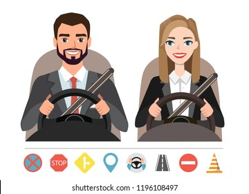 Businessman and businesswoman driving a car. woman and a man who sit behind the wheel