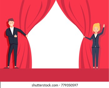 Businessman and businesswoman hands pull rope red cloth. Grand opening concept. Vector illustration flat design. Isolated on white background. Ceremony, celebration, presentation and event