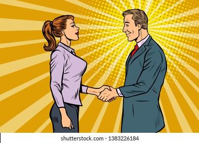businessman and businesswoman handshake. Pop art retro vector illustration vintage kitsch 50s 60s