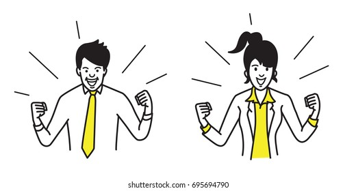 Businessman and businesswoman, holding fists both side, in concept of winning, success, celebrating, excited. Outline, contour, line, art, doodle, hand drawn, sketch, cartoon, simple design.