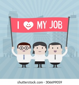 Businessman and Businesswoman holding l love my job sign - Vector