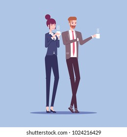 Businessman and businesswoman are holding mugs, drinking coffee or tea and talking to each other vector flat illustration. Two employees have coffee break