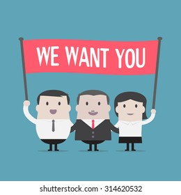 Businessman and Businesswoman holding we want you sign - Vector