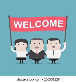 Businessman and Businesswoman holding welcome sign - Vector