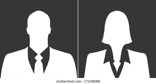 Businessman and businesswoman icons as avatar profile pictures
