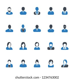 Businessman and Businesswoman icons set, avatar symbol - Blue on a white background