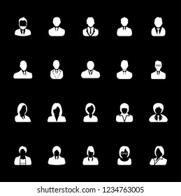 Businessman and Businesswoman icons set, avatar symbol - White