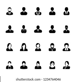 Businessman and Businesswoman icons set, avatar symbol - Black on a white background