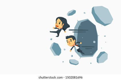 businessman and businesswoman knock down thick walls. Vector Illustration