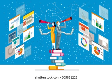 Businessman and businesswoman looking in telescope standing on top of books analyzing graphs, diagram and statistics web.