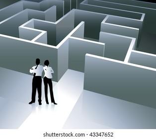 Businessman and Businesswoman with Maze Original Vector Illustration