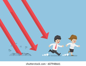 Businessman and Businesswoman Run Away From Falling Graph, Investment Risk Concept
