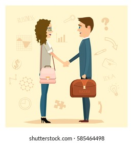 Businessman and businesswoman shake hand. Vector concept of business partnership and professionalism