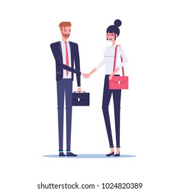Businessman and businesswoman shake hands at a meeting or as a sign of a deal or partnership. Smiling business people cartoon characters shake hands with each other flat vector design