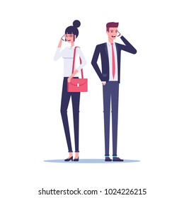 Businessman and businesswoman standing and talking on mobile phone on white background vector flat illustration. Office workers standing with phones in their hands.
