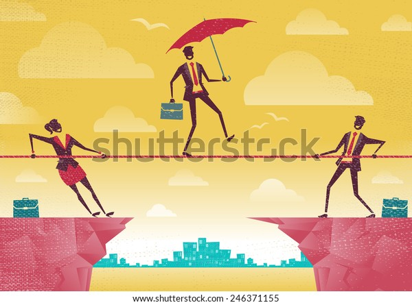 Businessman and Businesswoman use Teamwork on Clifftop. Great illustration of Retro styled Business People working as a team to assist their colleague through a difficult situation.