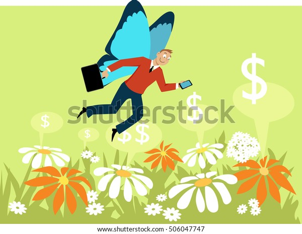 Businessman with butterfly wings flying over a flower field, as a metaphor for a gig economy freelance worker, EPS 8 vector illustration, no transparencies