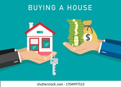 Businessman buy House , vector illustration.