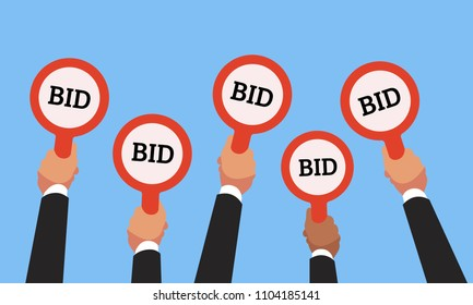 Businessman buyers hands raising auction bid paddles with numbers of competitive bidding price. Auction business bidders raise hand on blue background flat vector concept illustration