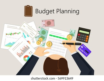 Businessman calculate the budget planning and corporate financial accounting concept