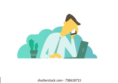 Businessman calls on business. Talking on the phone. looking for something in laptop sitting at the table. Telephone sales