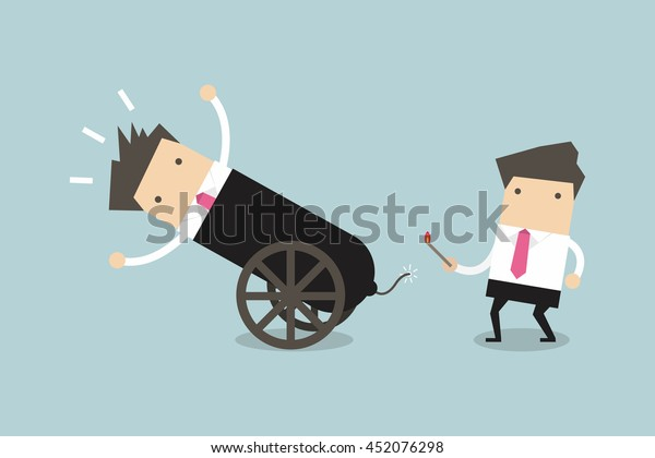 Businessman in cannon, shortcuts to success, business team concept. vector