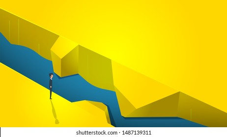 Businessman can't find way form river concept vector illustration impossible business. Background design goal challenge art career company. Change aim difficult mission idea. Hard operation task