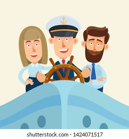 Businessman in the captain's hat and his team behind ship rudder. Team work, leadership concept. Business vector illustration. Flat design, cartoon style.
