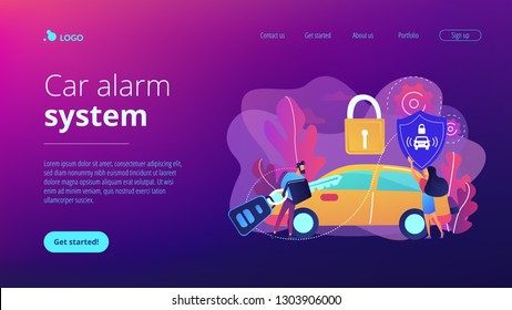 Businessman with car remote key and woman with shield at car with padlock. Car alarm system, anti-theft system, vehicle thefts statistics concept. Website vibrant violet landing web page template.