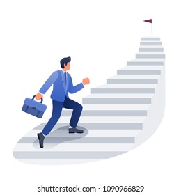Businessman career development illustration, Male climbing stairs