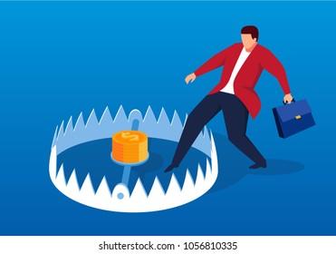 Businessman carefully enters mouse trap