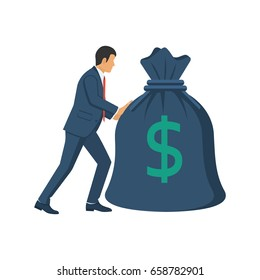 Businessman carries big heavy bag full of money. Many money in sack. Dollar sign. Banking, investment deposit. Expensive payment. Financial concept. Vector illustration flat design. Isolated on white.