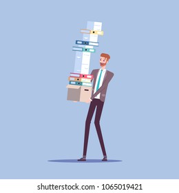 Businessman carries box with a large pile of documents and shoulders with papers that are about to fall vector flat illustration. Office employee and a large amount of paperwork.