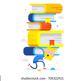 Businessman carries on his back a lot of smart books. Vector flat illustration
