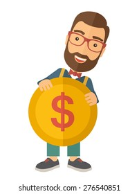A businessman carry big coin of money with his power in business. Business concept. A Contemporary style. Vector flat design illustration isolated white background. Vertical layout.