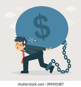 Businessman carry debt. Financial concept illustration.