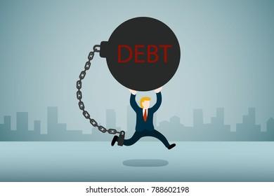 Businessman carry debt runing. Financial concept illustration.
