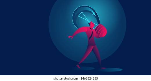 Businessman carry giant light bulb. Idea, start up, investment business concept in red and blue neon gradients