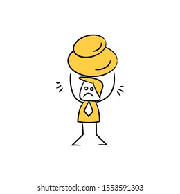 businessman carry rocks for hard work concept yellow doodle stick figure