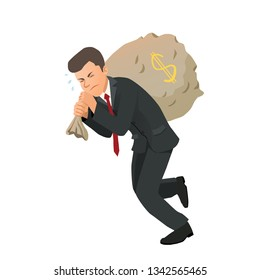 Businessman carrying a bag of money. Vector illustration.