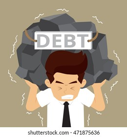 businessman carrying the burden of debt. vector