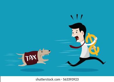 Businessman carrying dollar and run away the dog in shirt tax, vector cartoon