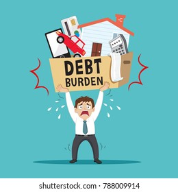 Businessman carrying heavy debt burden, illustration vector cartoon