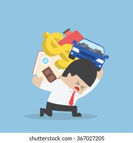 Businessman carrying house car and dollar sign, Debt concept, VECTOR, EPS10