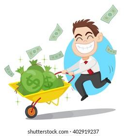 Businessman carrying money bag on a wheelbarrow, vector illustration