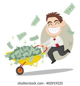Businessman carrying money on a wheelbarrow, vector illustration