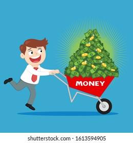 Businessman Carrying Money In A Wheelbarrow, illustration vector cartoon