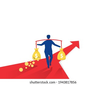 Businessman Carrying a Torn Money Bag with crisis and recession concept Financial Loss Concept.